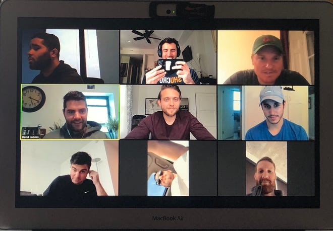 A group of friends, all with varying lengths of (in most cases, newly grown) beards, chat on a Zoom conference call during the coronavirus pandemic.