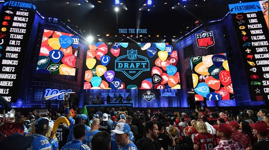 General overall view of the first round of the 2019 NFL draft in downtown Nashville.