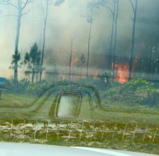 A brush fire scorches vegetation March 28 in Grant-Valkaria