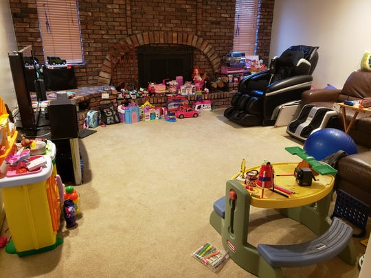 Karen Kwong's two older daughters created a preschool in their family room for her youngest daughter.