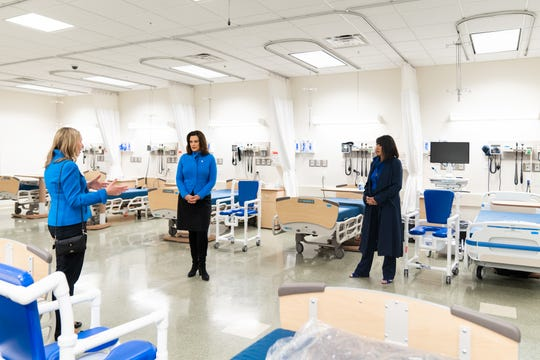 Governor Gretchen Whitmer joined Grand Valley State University President Philomena V. Mantella (far right) and Tina Freese Decker, president and CEO of Spectrum Health, on the tour of Cook-DeVos Center for Health Sciences located on GVSU's Health Campus, across from Spectrum Health's Butterworth Campus on Michigan Street, the Medical Mile in downtown Grand Rapids.