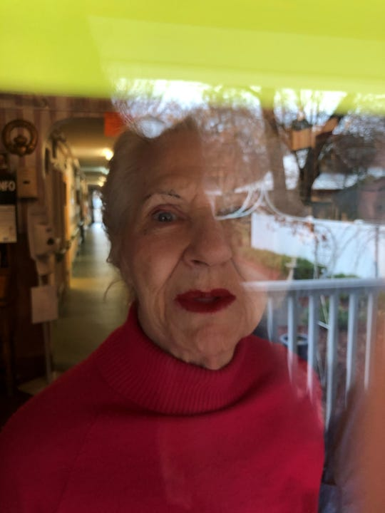 Mom, Marcella LaReau, peers out at me during our March 28, 2020 visit amid the coronavirus outbreak.