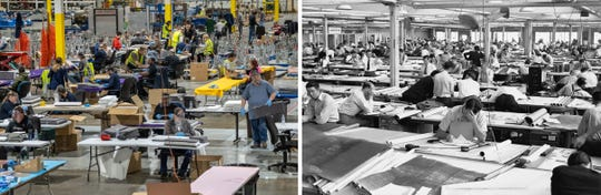 (Right) People work on assembling protective face shields at Troy Manufacturing Design a Ford subsidiary in Plymouth on Friday, March 27, 2020. Ford, in cooperation with the UAW, will assemble more than 100,000 critically needed plastic face shields per week to help medical professionals, factory workers and store clerks. (Ryan Garza, Detroit Free Press0