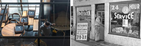 (Left) A woman works on mopping the floor in Maru Sushi in downtown Detroit on Tuesday, March 17, 2020 as the dining room remains closed due to COVID-19. (Ryan Garza, Detroit Free Press)