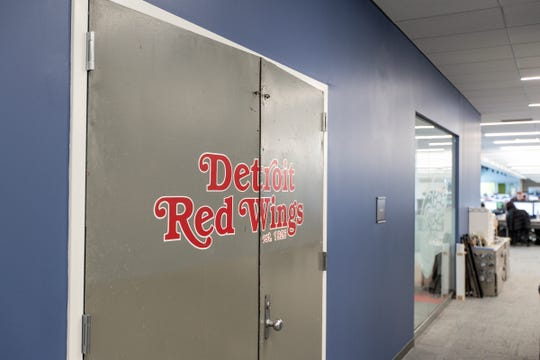 The doors of a conference room named the Joe at United Shore headquarter in Pontiac come from the players doors to the ice from the Joe Louis Arena, Friday, Feb. 28, 2020.