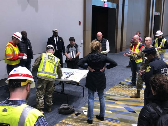 The U.S. Army Corps of Engineers were at the TCF Center in Detroit on Saturday to assess the facility for conversion into an alternate care facility.