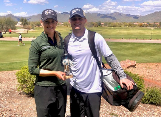 Sarah Burnham, with her caddie/boyfriend, Jackson Renicker, a wrestler at Michigan State.