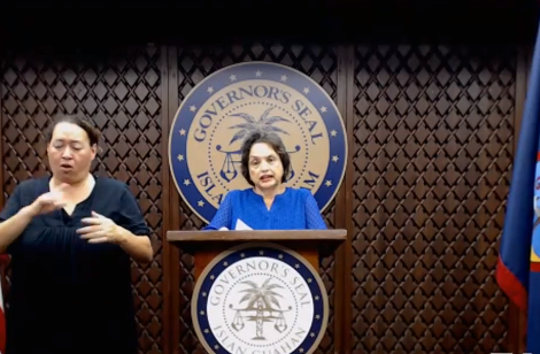 Governor Lou Leon Guerrero addressed the community during a press conference on March 28, 2020. Leon Guerrero said the worst of COVID-19 is yet to come.