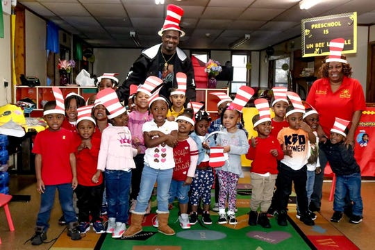 Former Mississippi State center Darryl Williams participated in Read Across America Day at several elementary schools in his hometown area earlier this month.