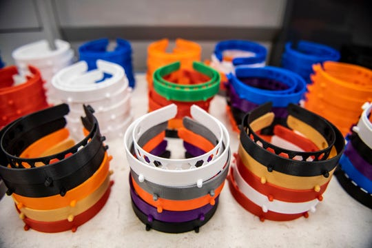 West Tennessee colleges such as Tennessee College of Applied Technology and Union University are working to mass produce face shield headbands using 3D printers.
