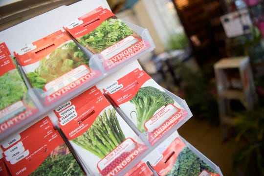 A selection of seeds for various vegetables is offered for sale at Mayo Garden Center in Bearden in Knoxville, Tennessee on Friday, March 27, 2020.