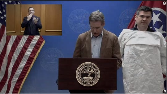 More than 100 inmates at Tennessee Department of Correction facilities are using donated materials to create personal protective equipment (PPE) for the states medical facilities, including suits and masks. The gowns were demonstrated at Gov. Bill Lee's daily briefing on March 26.
