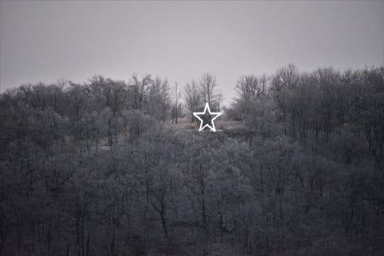 The five-pointed star, perched atop High Mountain.