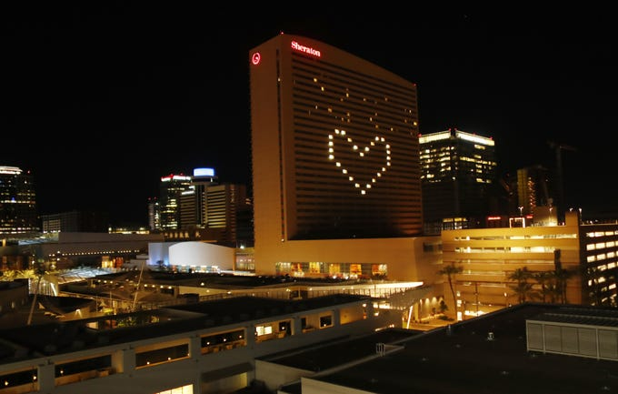 A heart of lighted rooms done by Sheraton Phoenix Downtown on March 27, 2020.