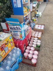 A Laveen community pantry was overflowing with donations on Friday, March 27, 2020.