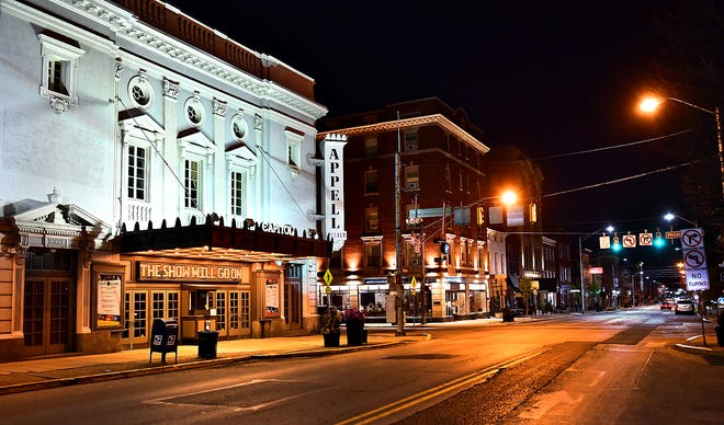 The Appell Center for the Performing Arts offers a message of hope shortly after 8 p.m. in York City, Friday, March 27, 2020. Gov. Tom Wolf added York County to the stay-at-home order earlier in the day in hope of preventing further COVID-19 coronavirus infection. Dawn J. Sagert photo