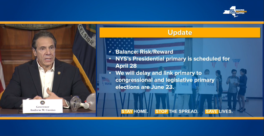 Gov. Andrew Cuomo said the presidential primary will be moved from April 28 to June 23.