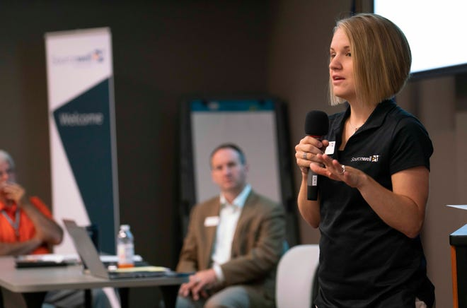 Anna Gruber presents during an Innovation Funding meeting, a Sourcewell initiative that helps nonprofits and local governments start projects.