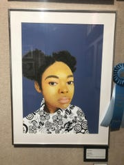 """Self-Portrait"" Mixed Media by Senior Portfolio Award Winner Vida Fauble from Lincoln High School."