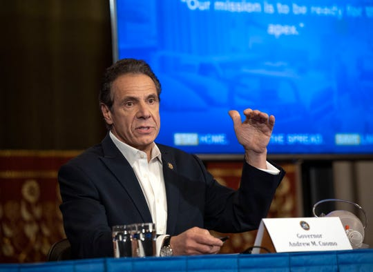Gov. Andrew Cuomo provides a coronavirus update during a press conference in the Red Room at the State Capitol in Albany on March 28, 2020.