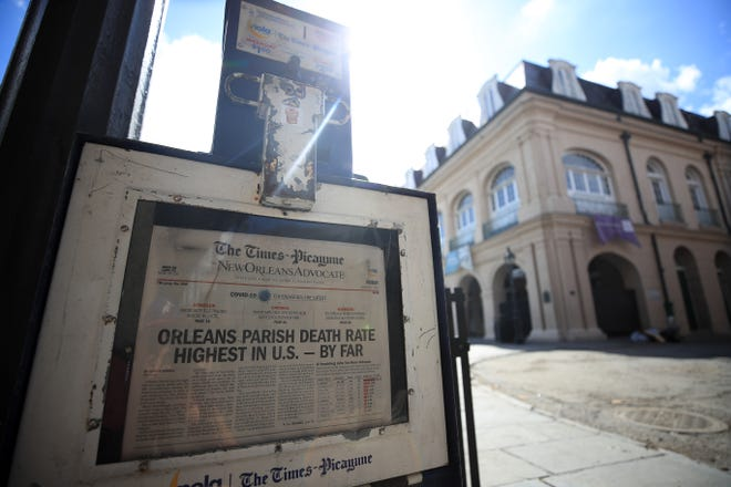 The Times Picayune/New Orleans Advocate cut back on pages to save on paper, furloughed 40 of 400 employees across the chain's three daily and 16 weekly newspapers, and asked remaining employees to take a temporary 20% pay cut.