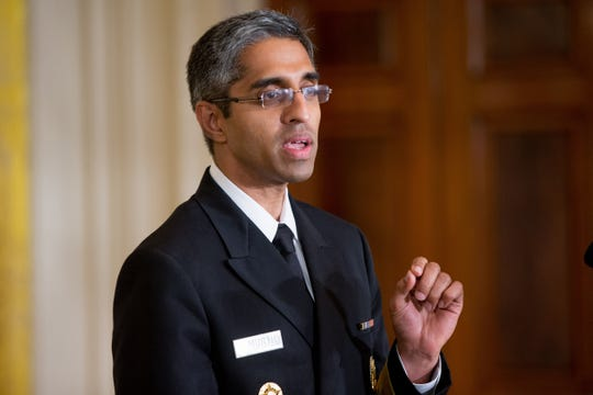 In this Aug. 3, 2015 photo, U.S. Surgeon General Vivek Murthy speaks in the East Room at the White House.