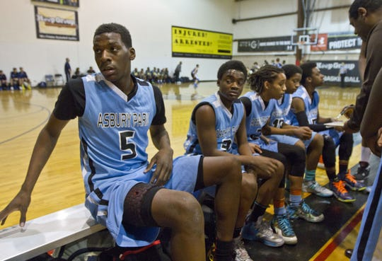 Asbury Park Middle School basketball players, including  Nazreon Reid (5) during a tournament at the Hoop Group in Neptune in 2014. The Hoop Group is one of many local businesses impacted by the coronavirus