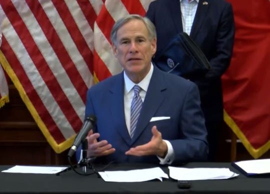 Gov. Greg Abbott provides an update on the state's effort to slow the spread of coronavirus. He spoke in the Texas Capitol on March 28, 2020.