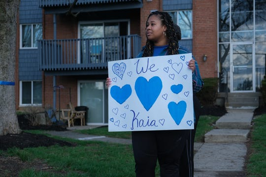 The funeral procession for fallen Springdale Police Officer Kaia Grant goes by the Springdale Police Department in Cincinnati on Sunday, March 29, 2020. Grant was killed in the line of duty Saturday, March 21, following a police chase and crash on Interstate 275. She was 33.