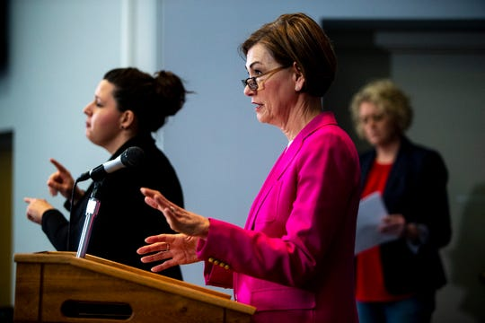 Iowa Governor Kim Reynolds speaks to the press during a news conference on Sunday, March 29, 2020, about the coronavirus COVID-19 and the state's response from the State Emergency Operation Center in Johnston.