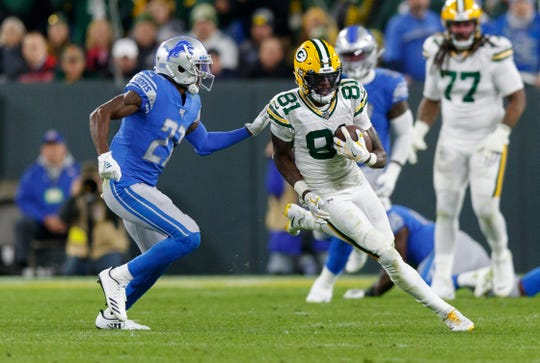 Packers receiver Geronimo Allison catches a pass against Lions cornerback Justin Coleman on Oct. 14, 2019 in Green Bay, Wis.