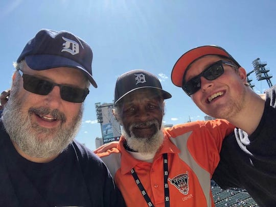 Shane Sellers, right, with his favorite Comerica Park usher, Clarence.