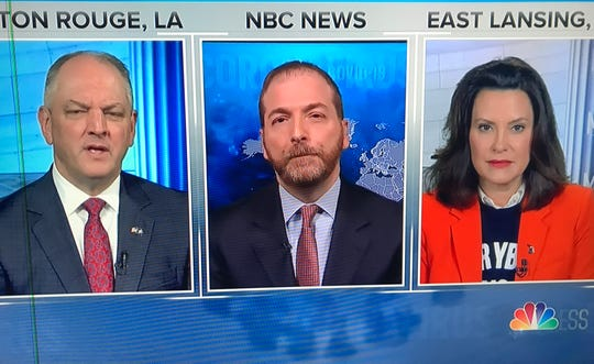 "Gov. Gretchen Whitmer appears on ""Meet the Press,"" Sunday, March 29, 2020, with Louisiana Gov. John Bel Edwards, left, and host Chuck Todd."