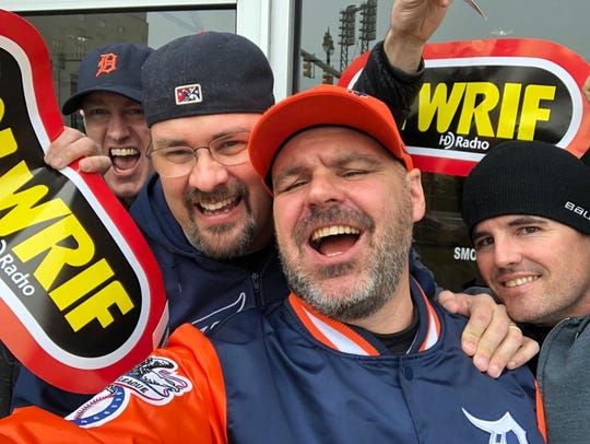 From left, Ryan Hickman from Houston, Greg Layson from LaSalle, Onatario, Blair Yaworsky from St. Albert, Alberta, and Mike Burling of Essex, Ontario, at a recent Tigers' opener.