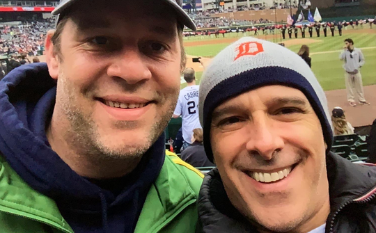 Frederick Link, left, at the Tigers' home opener in 2015.