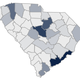 A map showing South Carolina coronavirus cases by county, as of Sunday, March 29, 2019.
