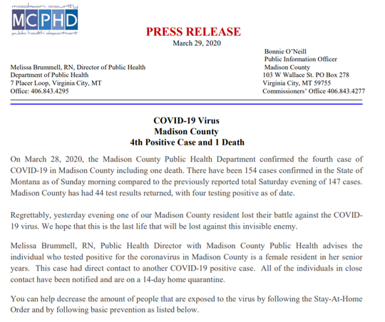 The above news release announces the death of a Madison County woman.