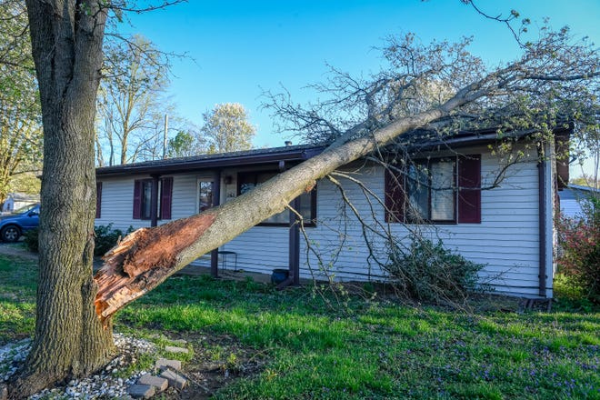 A tree on a house on Gregory Drive in Henderson after a line of severe thunderstorms with tornado warnings passed through the area yesterday evening Sunday, March 29, 2020.