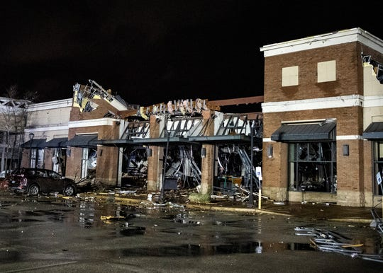The Barnes & Noble story at The Mall at Turtle Creek in Jonesboro, Arkansas, suffered severe damage after a tornado moved through the area on Saturday, March 28 2020.