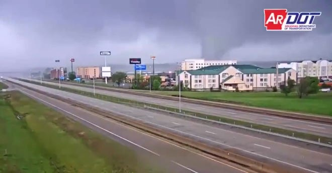 Stills from the Arkansas Department of Transportation video that appears to show a tornado moving through Jonesboro on Saturday, March 28, 2020. While a QuoteWizard.com study shows a decrease in Arkansas over the past 10 years compared to the 10 years prior, there has been an increase in tornadoes in Sebastian and Crawford counties.