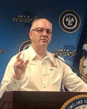 Louisiana Governor John Bel Edwards discusses the coronavirus crisis during a March 25, 2020.