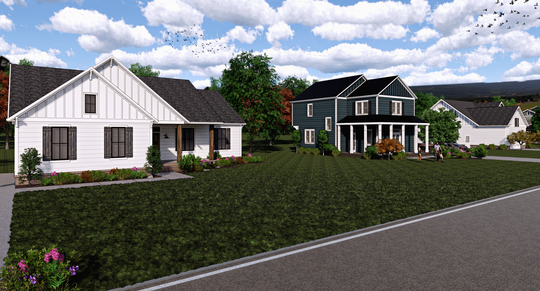 Rendering of homes planned to be constructed near the corner of Abiff Road and Highway 46 in Dickson County.