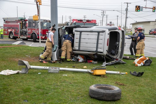 Crews work at the scene of a crash with entrapment in the intersection of Eisenhower Drive and Eichelberger Street, Sunday, March 29, 2020, in Hanover Borough. Hanover Area Fire & Rescue Chief Tony Clousher said crews worked for an hour and 15 minutes to extricate the driver of the vehicle, who was transported in serious but stable condition. A second female occupant was possibly ejected and was out of the vehicle when they arrived, Chief Clousher said. Both were taken to York Hospital in stable condition.