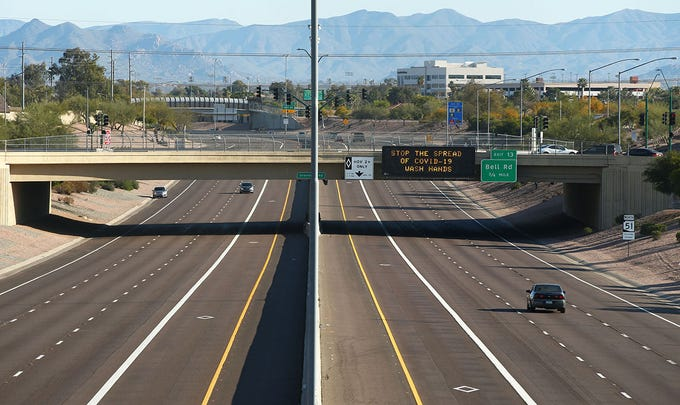 Arizona State Route 51 (SR 51), the Piestewa Freeway with low traffic on Saturday Mar 28,2020  in Phoenix.