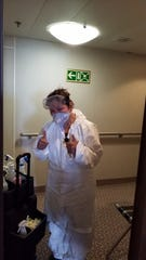 Hasten's maid, Mel, had to constantly be working in a hazmat suit for her safety while aboard the Silversea Silver Shadow