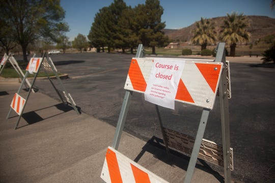 St. George City officials close city golf courses, including Southgate, in an effort to minimize the spread of COVID-19 Saturday, March 28, 2020.