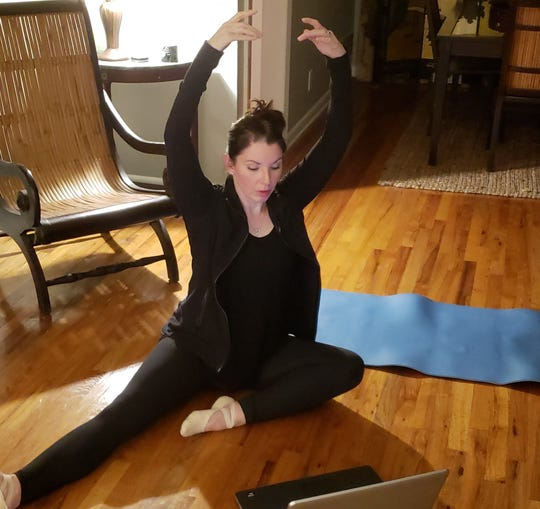 Amy Lowe, Artistic Director of Ballet Arts Conservatory of Tallahassee teaches ballet students via Zoom from her own home during the corona virus social distancing.