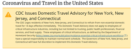 The CDC issued guidance Saturday, March 28, 2020, to urged the tri-state area to not travel for 14 days.
