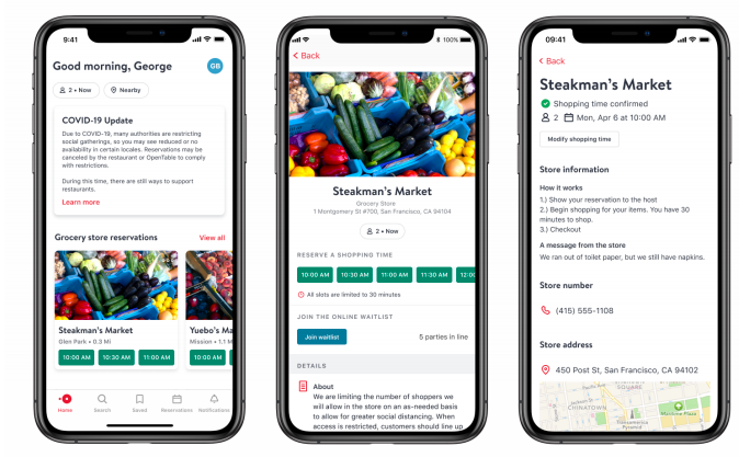OpenTable launches tool to help you avoid long lines at restaurants, grocery stores