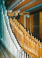 The Barton organ weighs about 10,000 pounds.